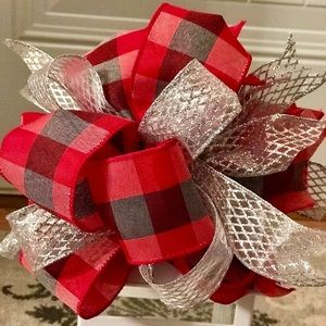 Other - FREE SHIP Holiday Plaid Bow Door Decor Christmas